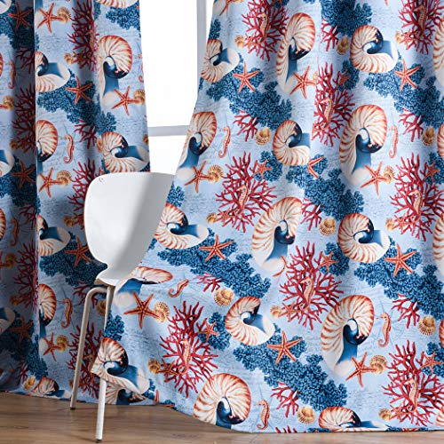 - Kotile Boys Curtains 2 Panels - Conch Printed Blackout Curtains Thermal Insulated Grommets Room Darkening Drapes for Kids Bedroom, 52