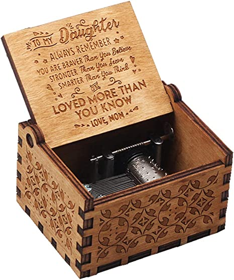 great gift for mom or daughter, You are my sunshine engraved music box on the top along with sun