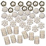 Jili Online Pack of 40 Assorted Shapes Pearl Crystal Flatback Buttons Embellishments for Hair Bow Crafts Wedding Decor