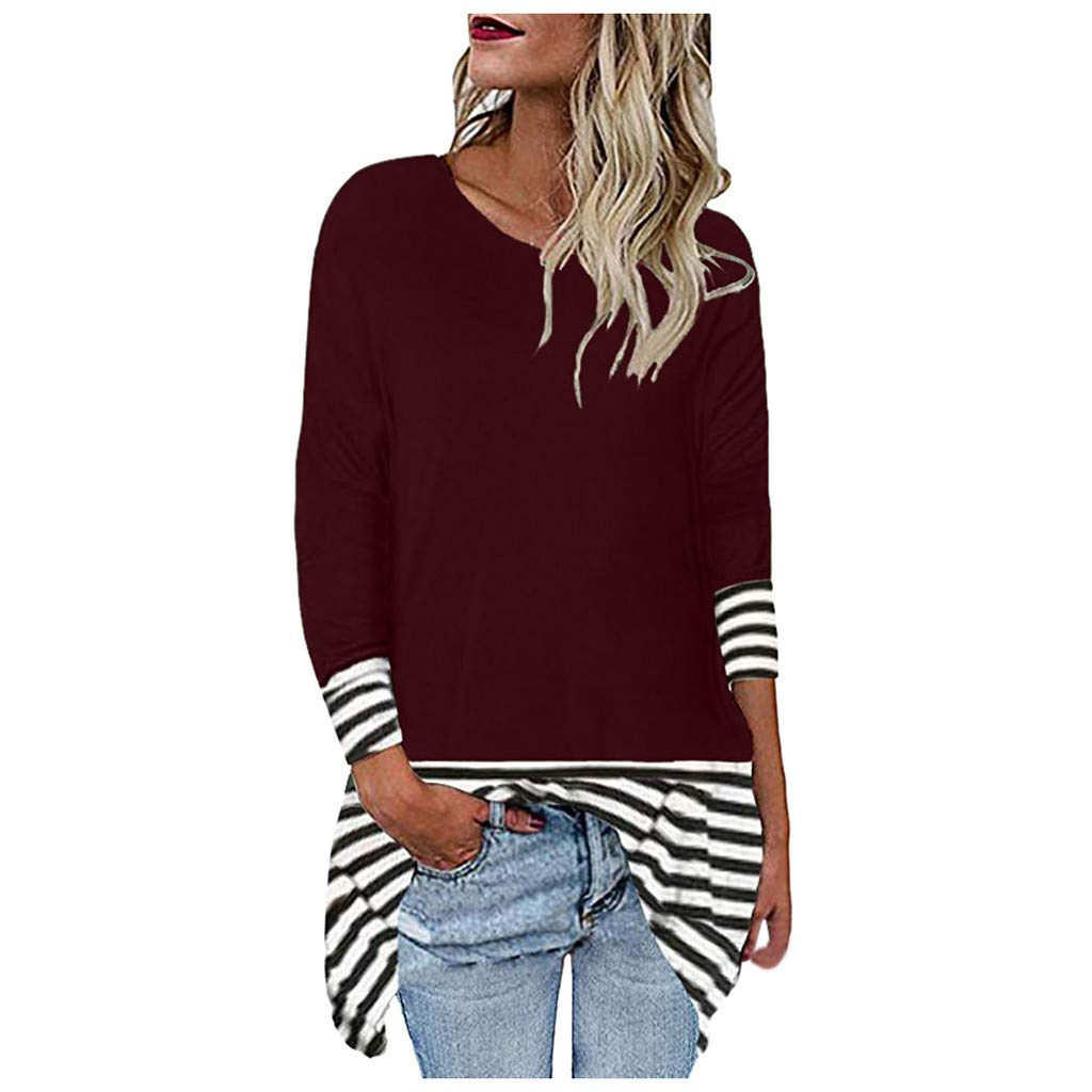 〓COOlCCI〓Women's Solid Stripe Patchwork Classic-Fit Long-Sleeve Crewneck T-Shirt Loose Casual Pullover Tunic Tops Blouse Wine by COOlCCI_Womens Clothing
