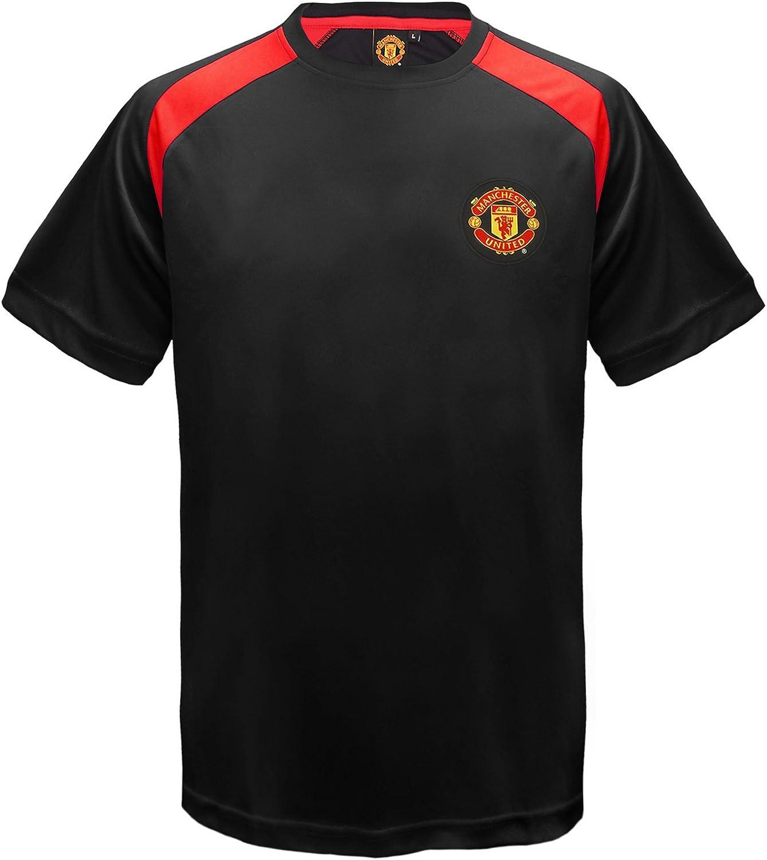 Manchester United FC - Camiseta oficial de entrenamiento - Para niño - Poliéster - Negro - 6-7 años