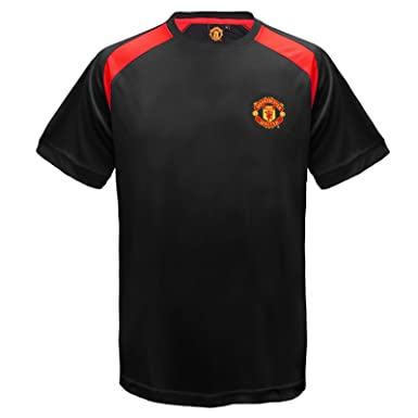 588c2ca5c Manchester United FC Official Boys Poly Training Kit T-Shirt Black 6-7 Yrs