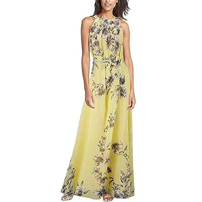 Tomayth Las Mujeres Vestidos De Gasa Sin mangas Cuello Halter Boho Maxi largo vestido de Fiesta de noche vestido de playa: Amazon.es: Ropa y accesorios