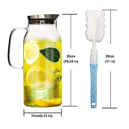 GOLDPOOL - Jarra de Cristal de borosilicato con Tapa de Acero Inoxidable, 2 litros, con Cepillo de Limpieza