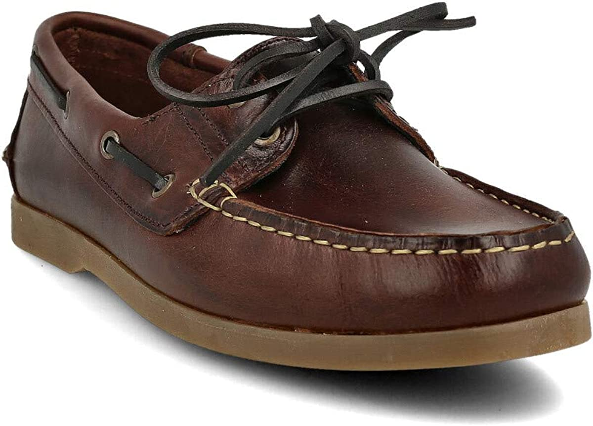 PAYMA Chaussures Bateau Homme en Cuir Cuir Sp/écial Seahorse Huil/é Semelle en Caoutchouc Coleurs Brun et Bleu 2 Oeillets Lacet Classique Docksides