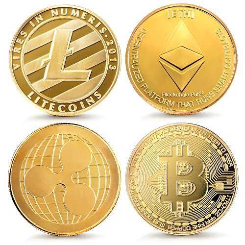Bitcoin Ethereum Ripple Litecoin  Jewelrieshop Bitcoin Coin Ethereum Ripple Litecoin Commemorative Coin   4 Pcs