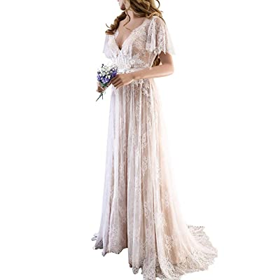 PearlBridal Women's Modest V-Neck Lace Bohemian Beach Wedding Dresses Long Country Wedding Gown at Women's Clothing store