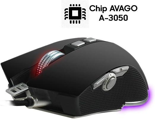 Woxter Stinger RX 1500 M, Ratón gaming profesional con base metálica, sensor AVAGO A3050, contrapesos ajustables, macros, hasta 4000 DPI, ...
