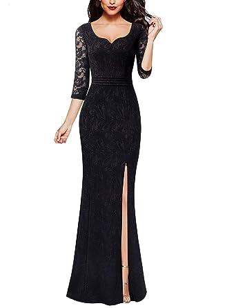 e31a46e996c VFSHOW Womens Black Sweetheart Neckline Ruched High Slit Formal Evening  Mermaid Maxi Dress 2552 BLK XS