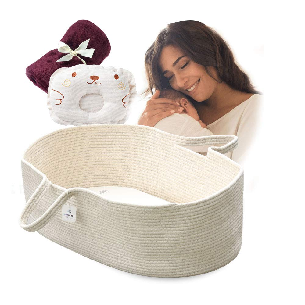 ICEBLUE HD Moses Basket Cotton Rope Specious Newborn Cradle Bassinet Baby Nest Bed Travel Bed Baby Shower Gift with Portable Handles (Cream Color) by ICEBLUE HD