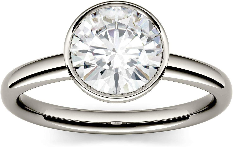 Charles & Colvard Forever One anillo de compromiso - Oro blanco 14K - Moissanita de 6.5 mm de talla redonda, 1 ct. DEW