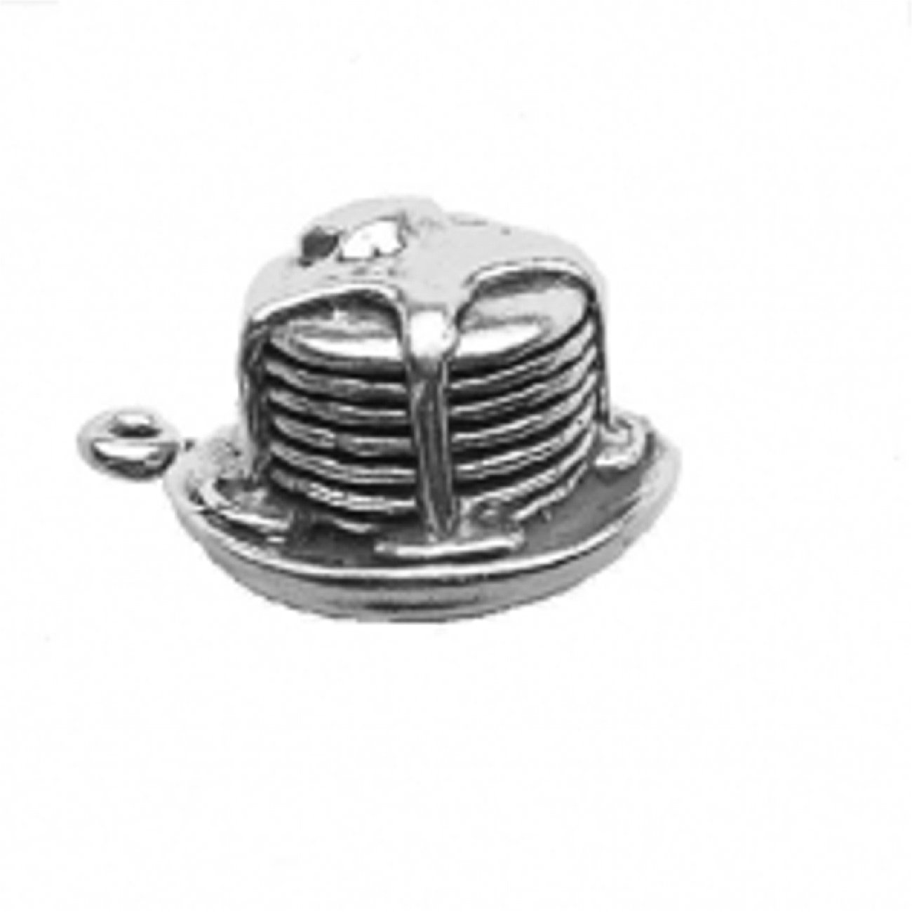 Sterling Silver Girls .8mm Box Chain 3D Stack Of Pancakes Drizzled Syrup And Butter Pendant Necklace