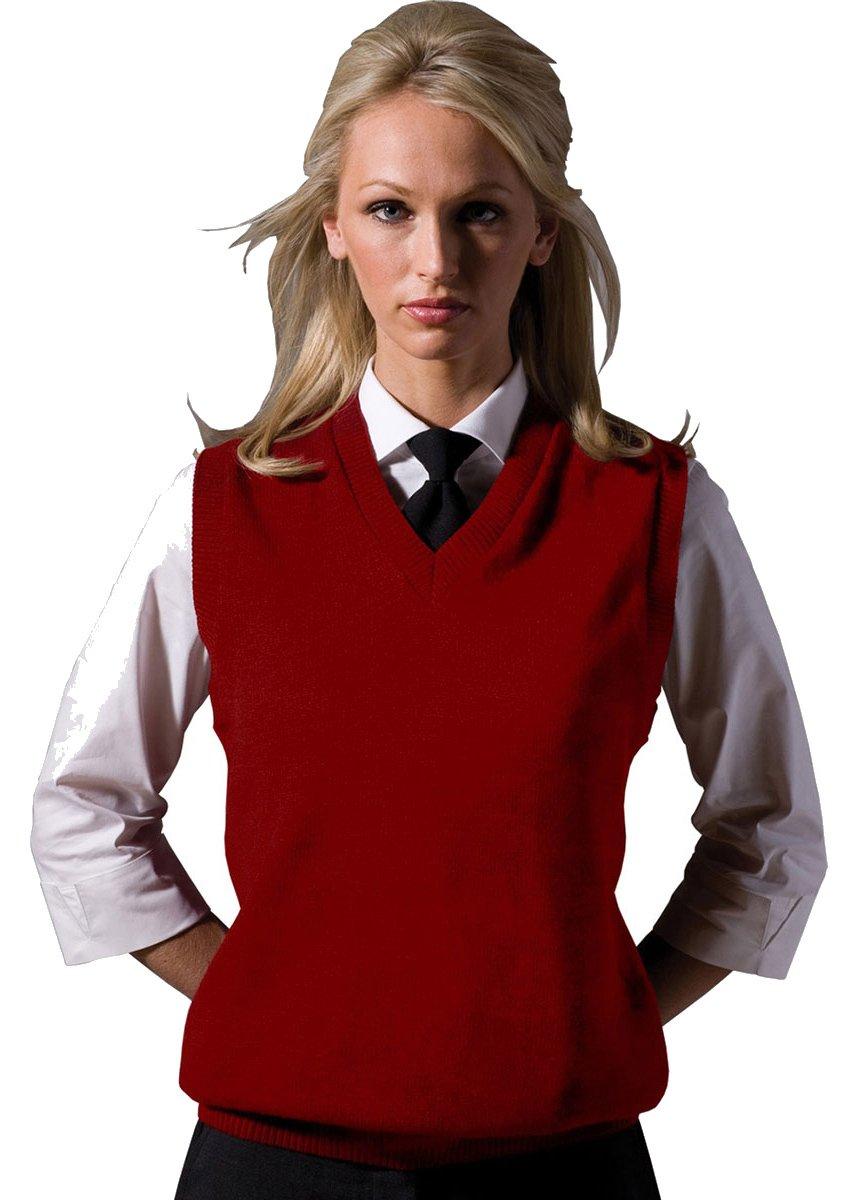 Edwards Garment Women's Performance V Neck Durable Stitch Acrylic Vest (Medium) - Red