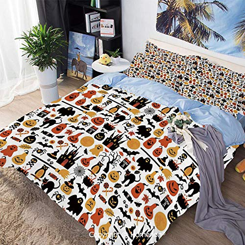 3 Piece Bedding Set,Halloween Icons Collection Candies Owls Castles Ghosts October 31 Theme Decorative,Full Size,Include 1 Quilt Cover+2 Pillow case,Orange Yellow Black ()