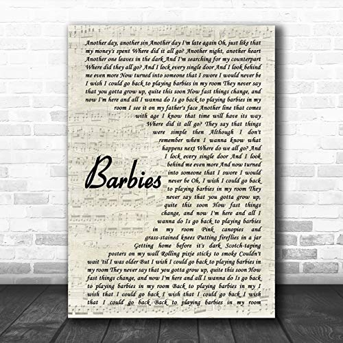 (Barbies Vintage Script Song Lyric Art Music Quote Gift Poster Print)