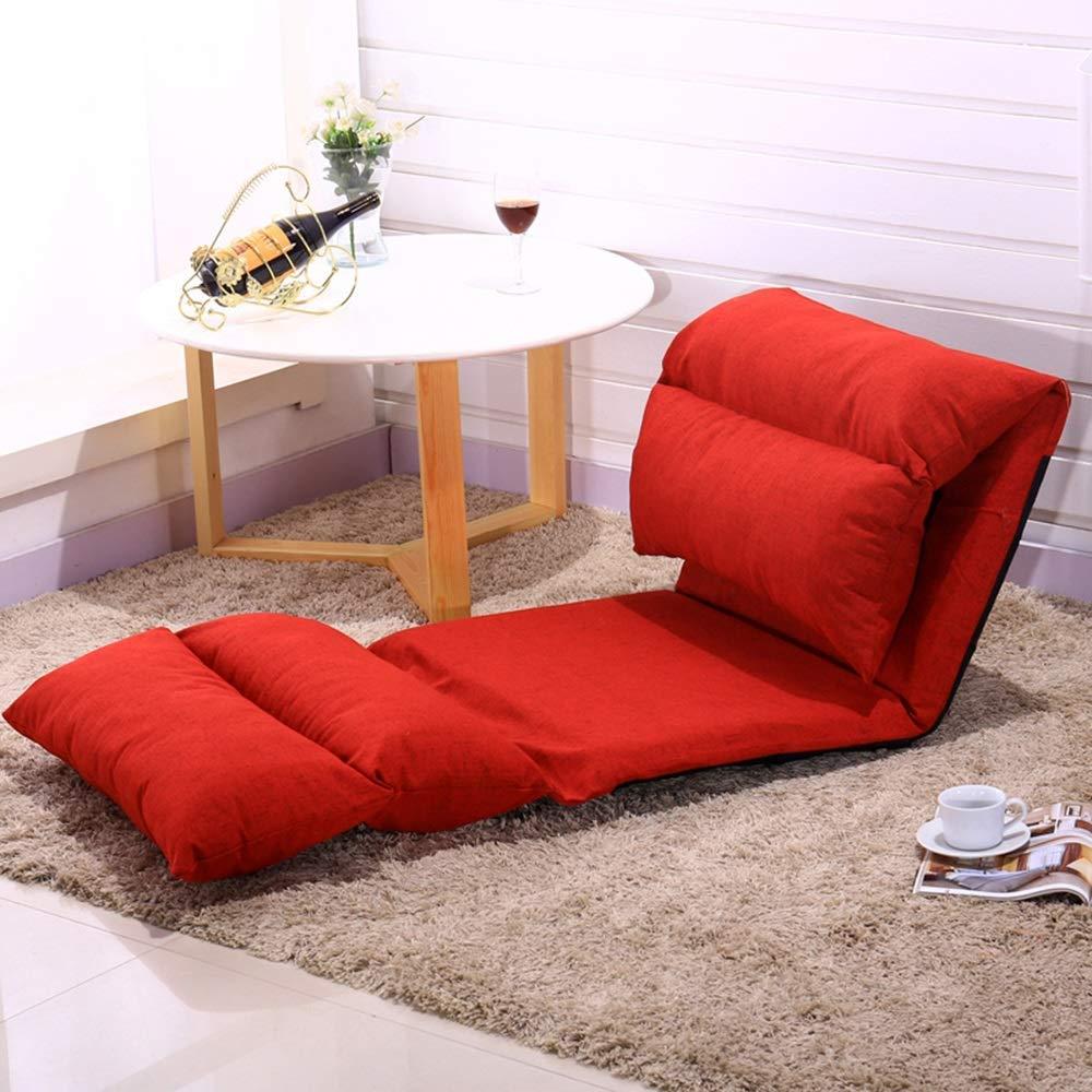 JIEER-C stol golvstol fritid hopfällbar golvstol multinivåjustering lat soffa avtagbar och tvättbar liten lägenhet vilstol för balkong sovrum, vinröd Röd