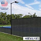 Windscreen4less 5' x 13' Solid Black Fence Privacy Screen Coated Polyester Mesh 80% Privacy (250GSM) -3 year limited warranty