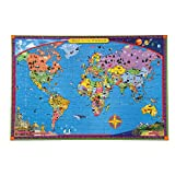 eeBoo World Map Puzzle for Kids, 100 Pieces