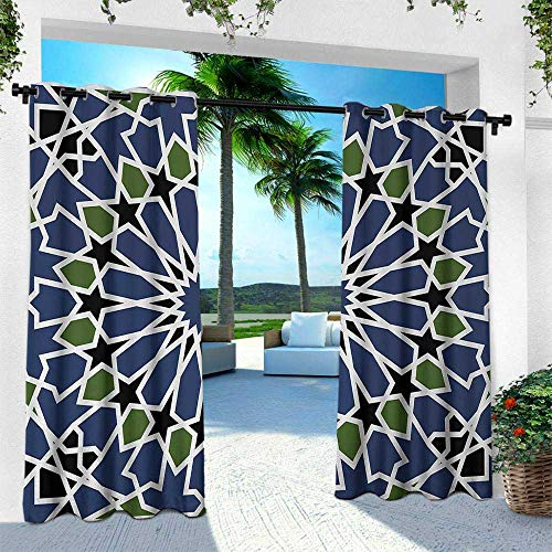 - Hengshu Arabic, Outdoor- Free Standing Outdoor Privacy Curtain,Mandala Inspired Arabesque Floral Figure Oriental Antique Design, W108 x L84 Inch, Dark Blue Olive Green Black