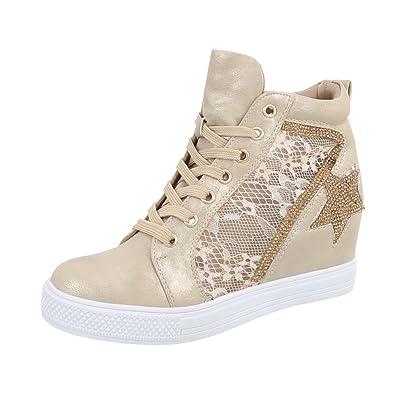 Ital-Design Sneakers High Damen-Schuhe Sneakers High Keilabsatz Wedge  Keilabsatz Schnürsenkel Freizeitschuhe 49e2d9a24e