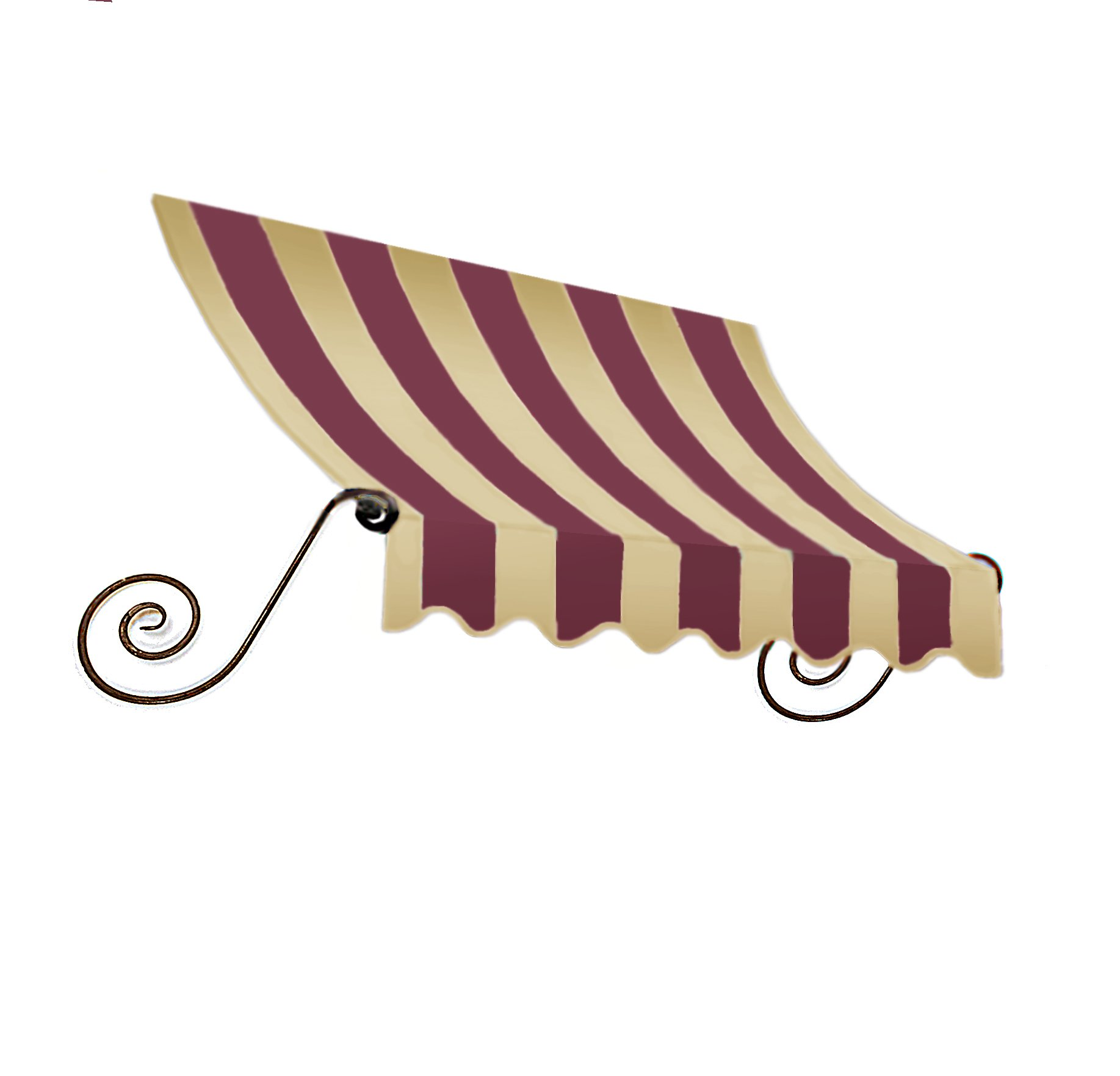 Awntech 3-Feet Charleston Window/Entry Awning, 44 by 36-Inch, Burgundy/Tan