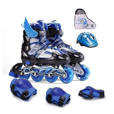 WE&ZHE Inline Skates Adjustable Kids Inline Skates Teens Roller Skates for Girls Boys,ABEC-7 Bearing,Beginner Safe and Durable Flat Skates,Blue,L: Home & Kitchen