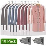 Perber Hanging Garment Bag Lightweight Clear Full Zipper Suit Bags (Set of 10) PEVA Moth-Proof Breathable Dust Cover for…