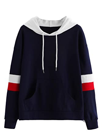 078f7c1be Romwe Women's Long Sleeve Color Block Striped Graphic Print Hooded Sweatshirt  Hoodie Top at Amazon Women's Clothing store: