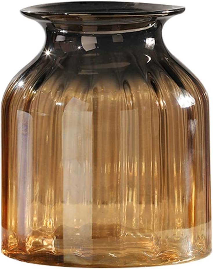 TEAYASON Glass Vase for Simple and Modern Electroplated for Living Room, Kitchen, Table, Home, Office, Wedding, Centerpiece or As a Gift (Color : Brown, Size : 16 16 27.5 cm),Brown,161619.5 cm