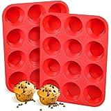 Silicone Muffin Pan, European LFGB 12 Cups Cupcake Pan, 2-Pack Muffin Tin for Muffin, Cupcake, Fat Bomb, Egg Muffin, 100% Foo