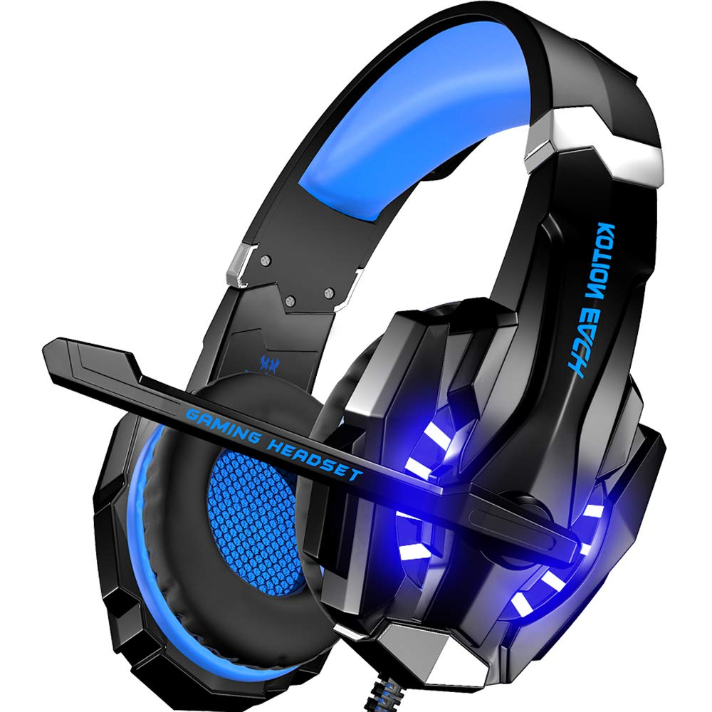 BENGOO [Updated] G9000 Stereo Gaming Headset for PS4, PC, Xbox One Controller, Noise Cancelling Over Ear Headphones with Mic, LED Light (Blue)