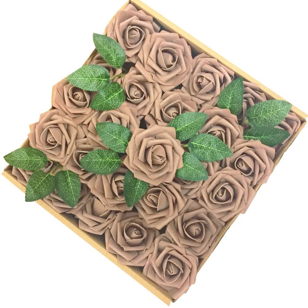 Jing Rise 50pcs Fake Roses Real Looking Artificial Flowers For Diy