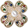 SUNNYHER Fashion CZ Jewelry Pearl Flower Bouquet Brooch Lapel Pin for Women Girl