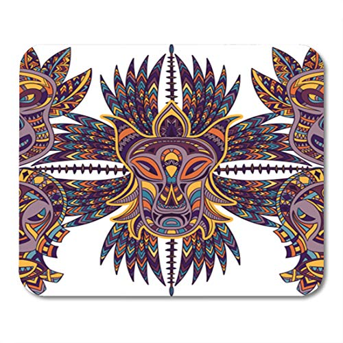 Semtomn Gaming Mouse Pad Seamless Pattern with Tribal Mask and Aztec Geometric Latin American 9.5