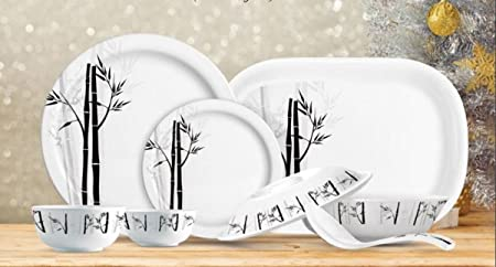 Famacart Round Melamine Dinner Set 31-Pieces Serving Set, Lissome