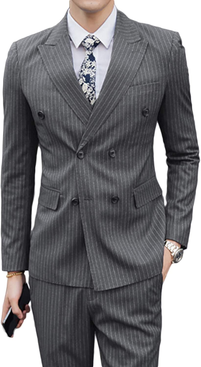 Setwell Mens Fashion Stripes Formal Business Double Breasted Suit 2 Piece