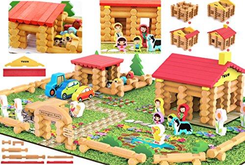 Shinington Farm – Wooden Log Farm House Wooden Construction Toys for 3 Year ()
