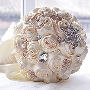 Romantic Wedding Bride Holding Bouquet Roses with Diamond Pearl Ribbon Valentine's Day Bouquet 7