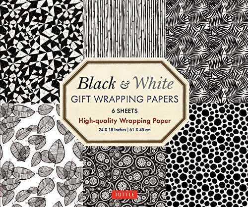 Black & White Gift Wrapping Papers - 6 sheets: 6 Sheets of High-Quality  24 x 18 inch Wrapping Paper ()