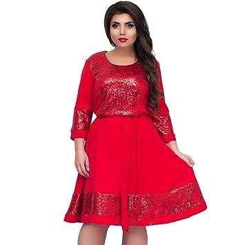 YAN Vestido de Mujer Vestido Casual de Señora - 2018 Fluffy Elegante Cuello Redondo Ropa de