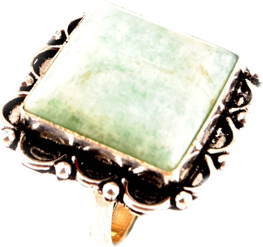 Los artesanos indie Anillo AMAZONITA Natural Tamaño 925 Tamaño plateado plata piedras preciosas anillo de Reino Unido Anillo para mujer R / anillo de la UE 58.75