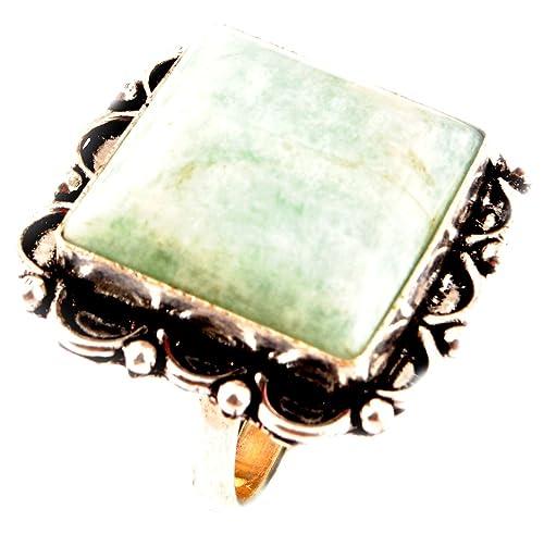 Los artesanos indie Anillo AMAZONITA Natural Tamaño 925 Tamaño plateado plata piedras preciosas anillo de Reino