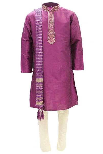 MKP2406 Rosa y Oro Pijama Kurta Hombre Indian Suit Bollywood Sherwani Chest 42 inches