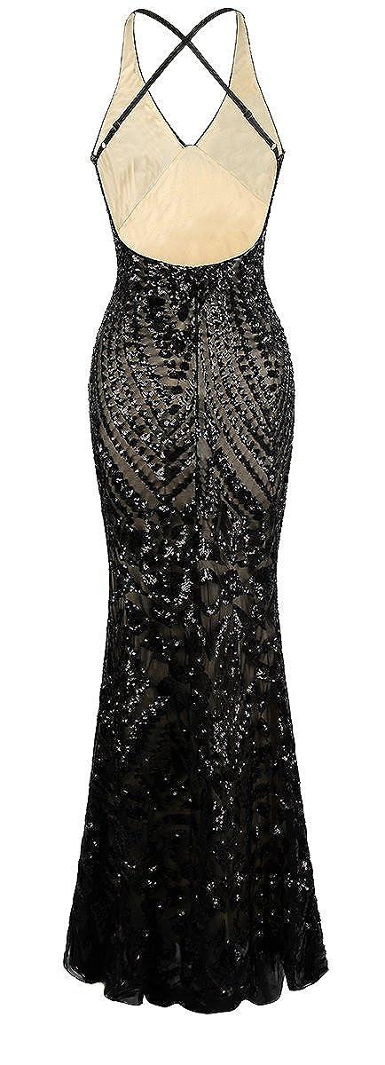Angel-fashions Womens Halter Pattern Sequin V Neck Sheath Long Evening Dress