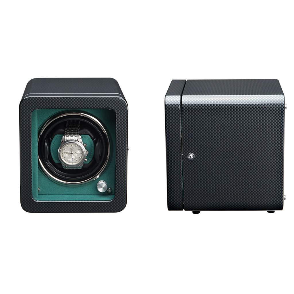 Fevilady klocklåda för automatiska klockor, extremt tyst motor, tre dimensionella klockkuddar, lämpliga för herrarmbandsurfodral (färg: svart) Svart