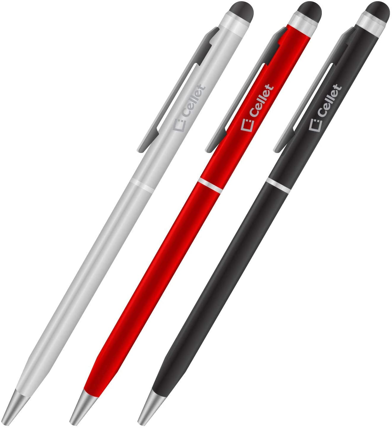 PRO Stylus Pen for Lenovo Vibe X2 Pro with Ink, High Accuracy, Extra Sensitive, Compact Form for Touch Screens [3 Pack-Black-Red-Silver]