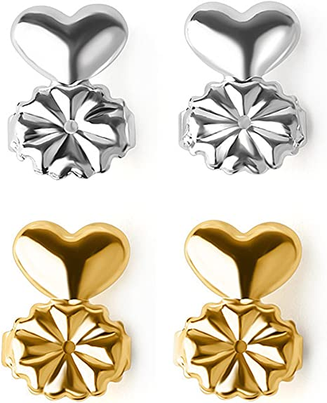 Ear Lobe Support Backs for Studs Magic Earring Lifts 4 Pair - 2 Gold//2 Silver