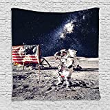SCOCICI Supersoft Fleece Throw Blanket Galaxy American Cosmonaut with USA Flag on Moon Digital Pilot Space Shuttle Discovery Photo Grey Dark Blue 59 x 59 Inches