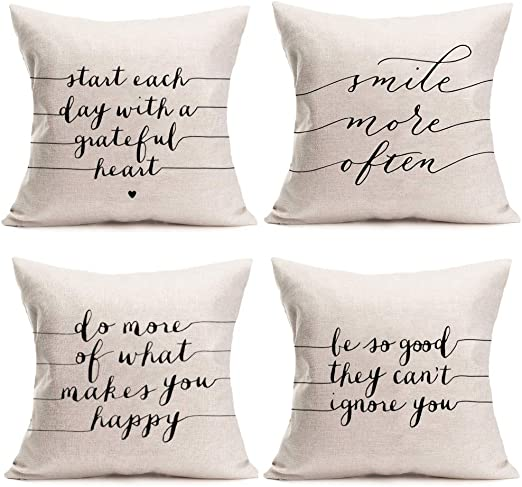 Amazon Com Fukeen Inspirational Words Cotton Linen Throw Pillow Cases Home Decor Best Office Gift Cushion Cover Smile Happy Lettering Pillowslip Standard 18x18 Inch Set Of 4 Home Kitchen