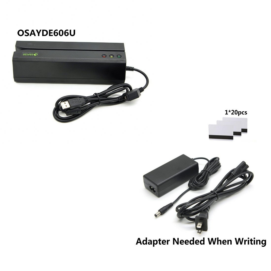 OSAYDE606U Student ID Club ID Membership Card Reader Writer Data Collector MSR606U No Driver Installed Swipe Reader 3 tracks Hi-co Magnetic Stripe Card Reader/Writer Encoder Swipe Credit with 20 Blank Cards Compatible for OSAYDE 606 605 206 HTT tech.